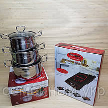 Индукционная настольная электроплита WimpeX WX1321 (2000W)+ набор кастрюль, фото 3
