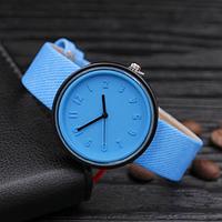 Женские модные часы  кожаный ремешок (Голубые)