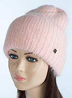 Женская шапка фактурной вязки Тафина пудра+роуз
