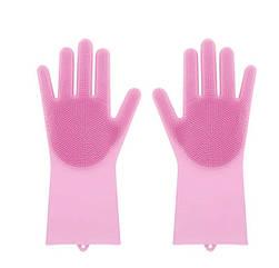 Силіконові рукавиці SUNROZ для миття посуду зі щіточкою Рожеві SUN2570, КОД: 366905