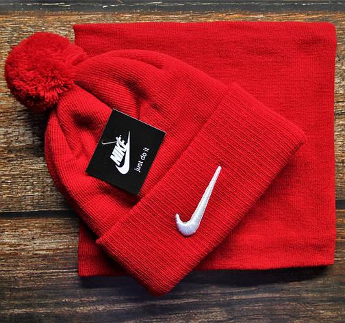Стильный брендовый комплект в стиле Nike шапка+бафф, красный, фото 2
