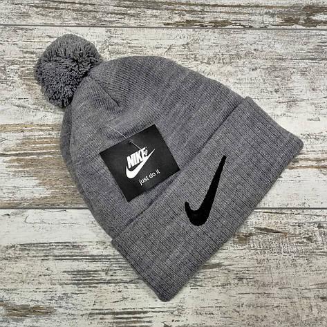Шапка мужская\женская - (флисовая подкладка) в стиле Nike светло-серый, фото 2