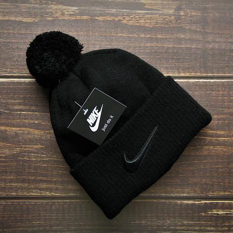 Шапка мужская\женская - (флисовая подкладка) в стиле Nike чёрный, фото 2