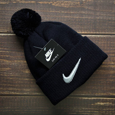 Шапка мужская\женская - (флисовая подкладка) в стиле Nike тёмно-синий, фото 2