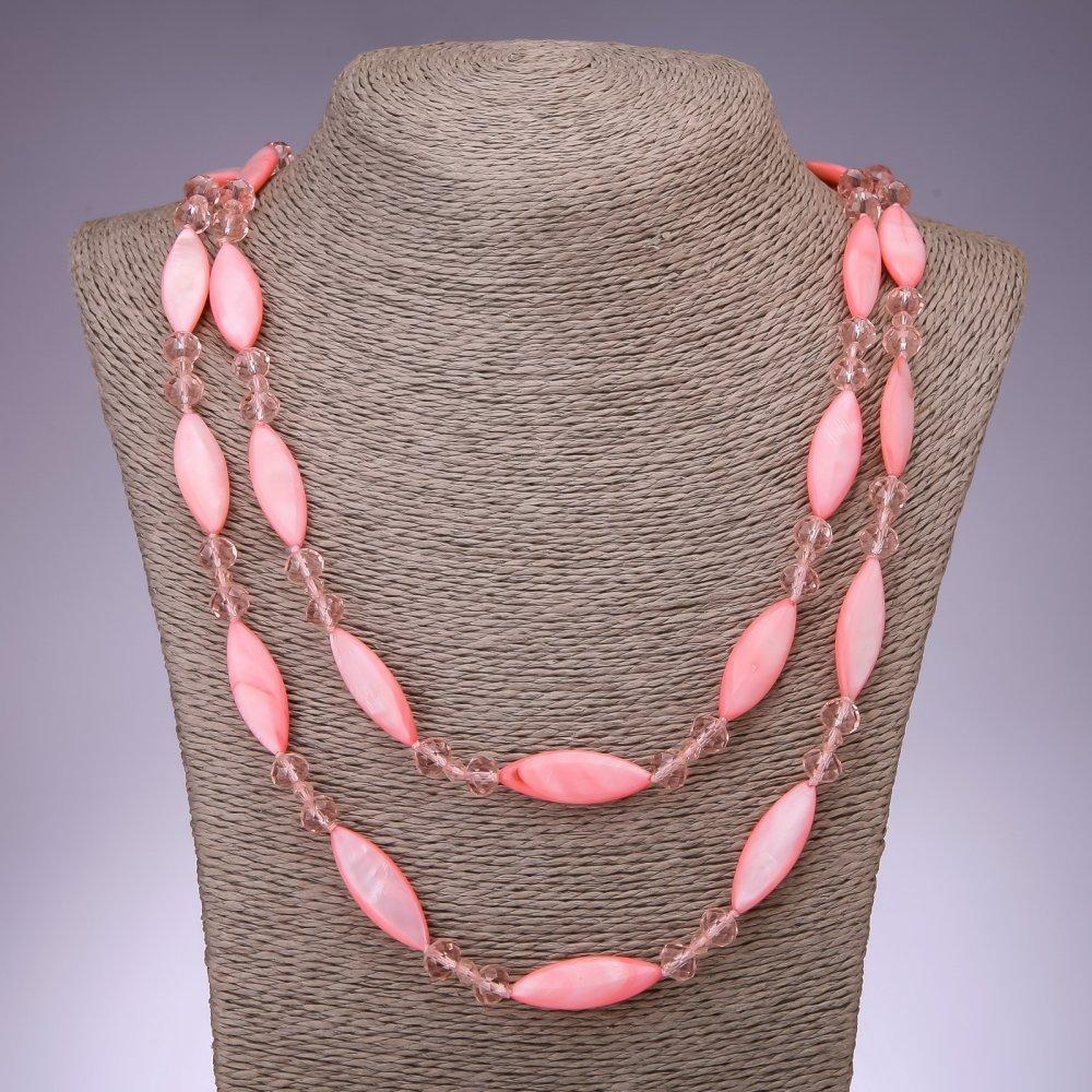 Бусы длинные Перламутр розовый удлинённый овал, 110см