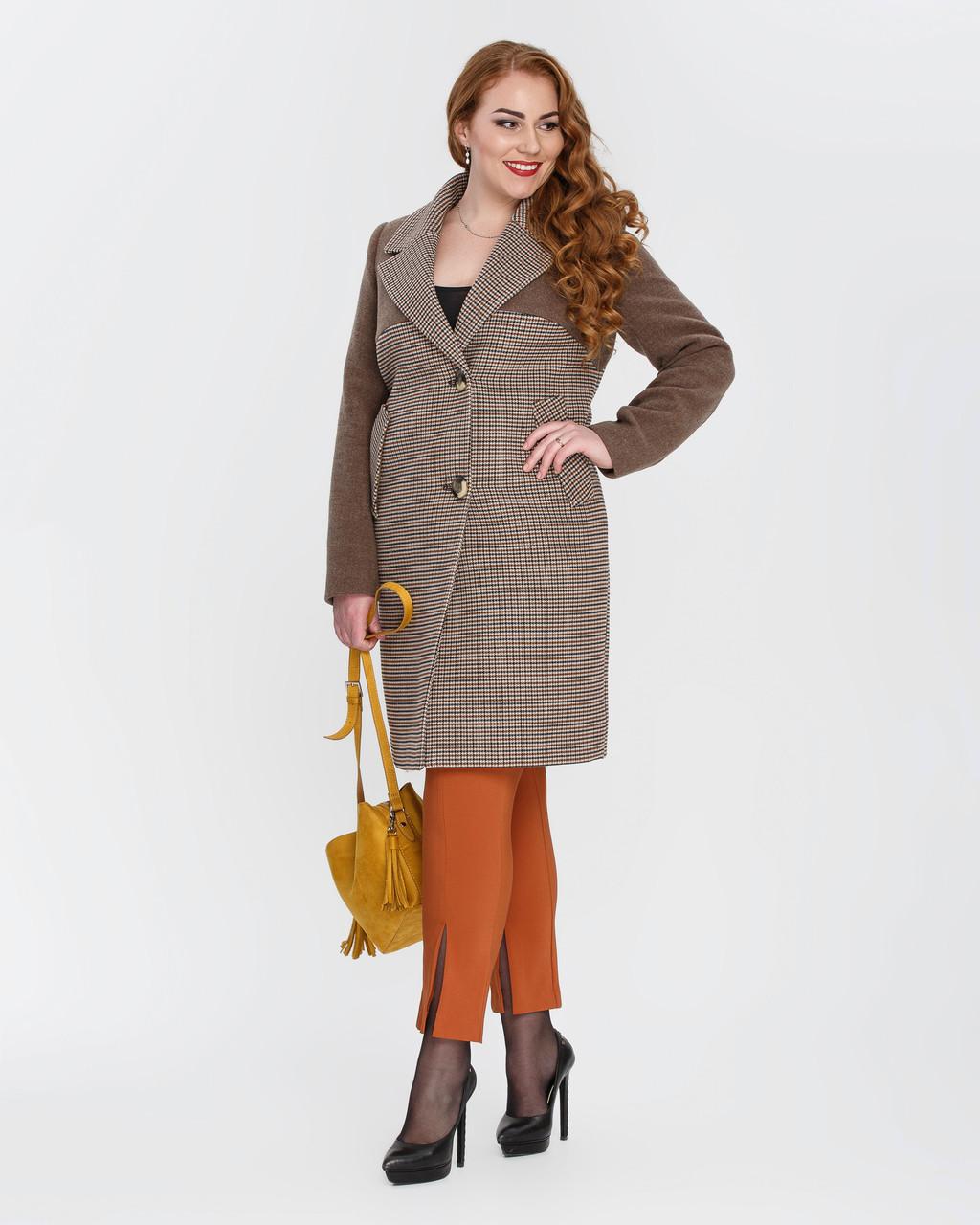 """Женское демисезонное классическое пальто """"гусиная лапка""""-М1327"""