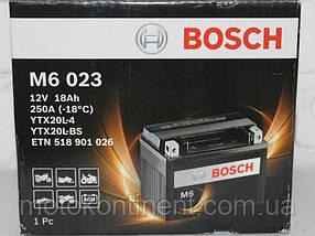 Мото аккумулятор BOSCH M6 AGM  ПРАВ [+] 12V 18AH 250A 177x88x156 Bosch 0092M60230 (YTX20L-BS / ETX20L-BS)