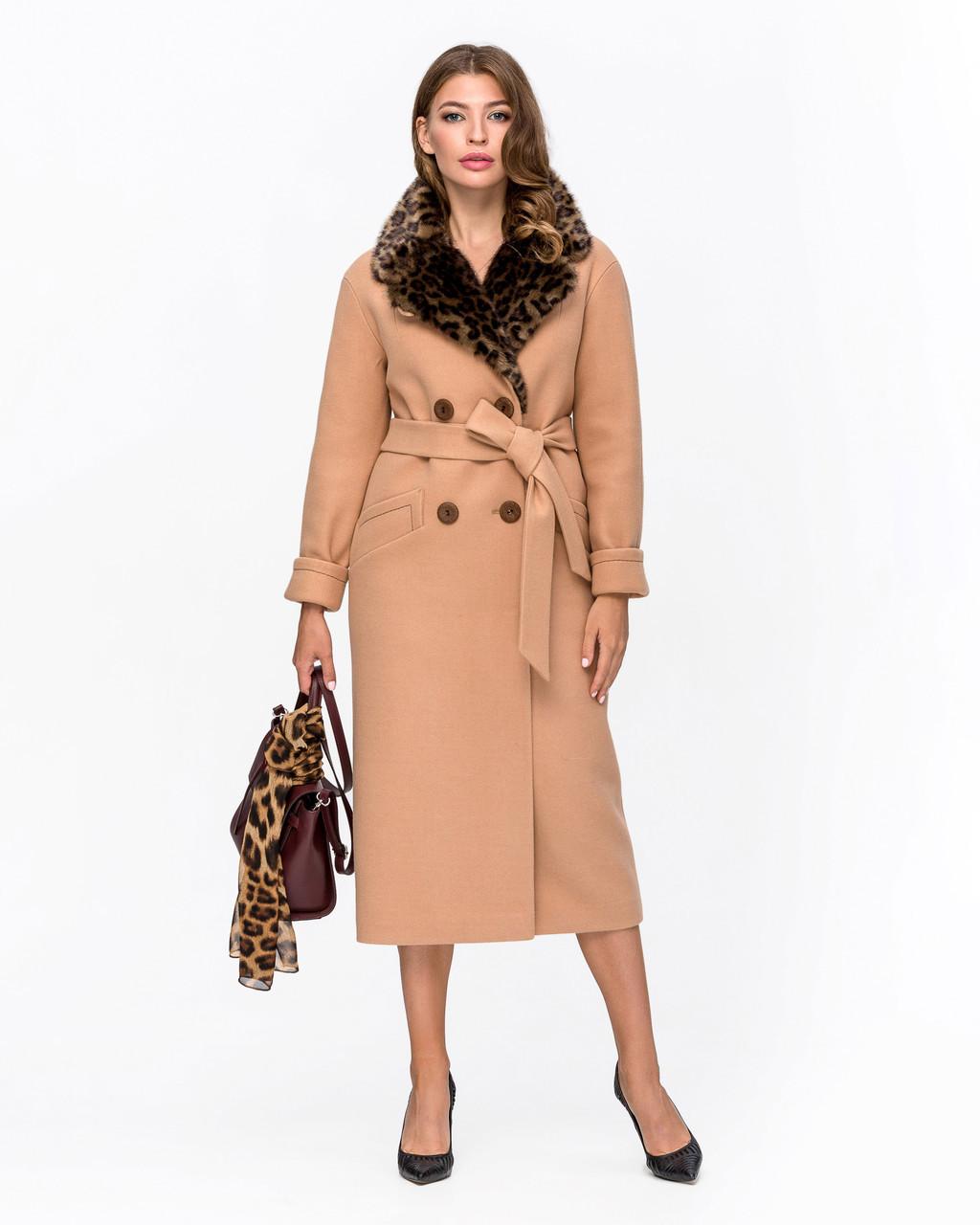 Женское зимнее пальто классика с меховой отделкой М-5094