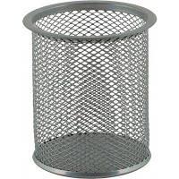 Стакан для ручек, металл, 1 отдел, круглый, серебряный, сетка, Buromax