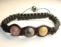 Плетеный браслет из яшмы цветной натуральной