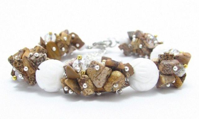 Женский браслет из натуральных камней микс Яшма и Коралл