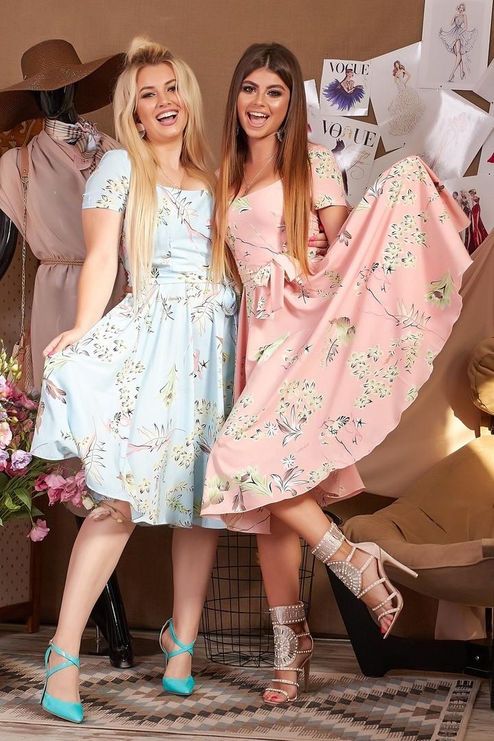 """Очаровательное нарядное платье в больших размерах 1218 """"Софт Орхидея Клёш Миди"""" в расцветках"""