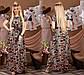 """Нарядное длинное платье в больших размерах 1216 """"Софт Принт Макси Пояс Контраст"""", фото 2"""