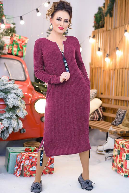 Стильне зимове плаття Еріка бордове