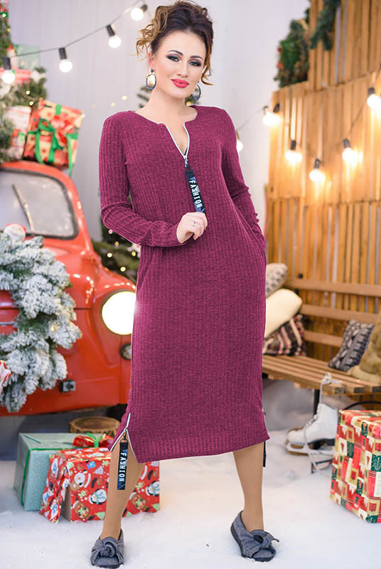 Стильное зимнее платье Эрика бордовое