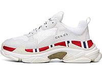 Женские кроссовки Balenciaga Triple S x Gucci White (баленсиага трипл с x гуччи, белые)