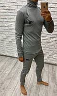 Костюм спортивный мужской из термокопресионной ткани на флисе с кофтой под горло (К28902), фото 1