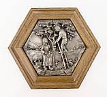 Картина оловянная в деревянной раме, олово, Германия, Осень, Четыре сезона, фото 2
