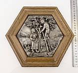 Картина оловянная в деревянной раме, олово, Германия, Осень, Четыре сезона, фото 3