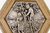 Картина оловянная в деревянной раме, олово, Германия, Осень, Четыре сезона, фото 4