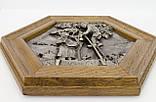 Картина оловянная в деревянной раме, олово, Германия, Осень, Четыре сезона, фото 5