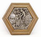 Картина оловянная в деревянной раме, олово, Германия, Осень, Четыре сезона, фото 8