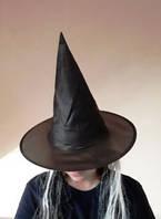 Колпак   черный с волосами  чародея, ведьмы