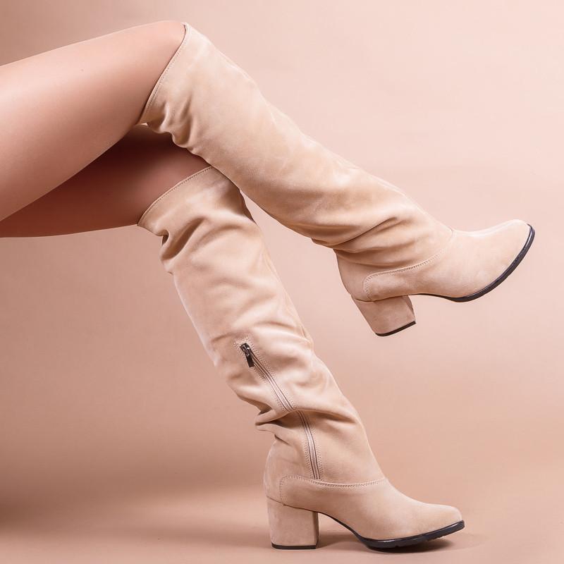 Замшевые светлые сапоги на комфортном каблуке. Пошив в любом цвете по личным меркам