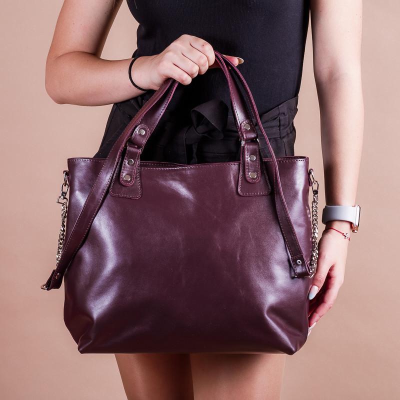 Кожаная бордовая женская сумка с двумя ручками, на молнии, цвет любой на выбор