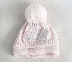 Детские шапки для девочек на флисе (до 1 лет) шерсть+акрил оптом со склада в Одессе.