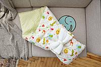 """Конверт для выписки из роддома для новорожденных детей для ребенка """"Сатин"""" Для девочек, Весна/лето, Зеленый"""