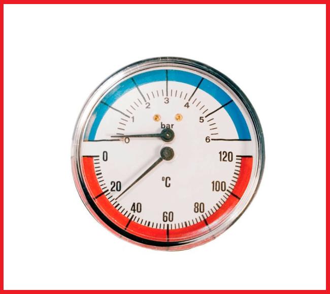 Термоманометр заднее подключение 1/2 80мм. 120град. (6 бар)
