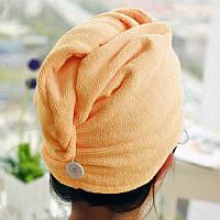🔝 Тюрбан-полотенце для сушки волос Shower cap - оранжевый | 🎁%🚚