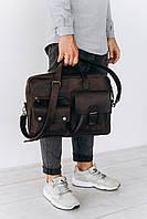 Мужская кожаная сумка для ноутбука и документов | Стильный портфель из натуральной кожи