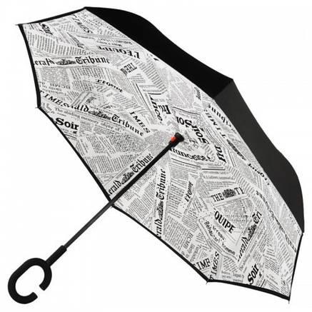 Зонт наоборот Up Brella Белая Газета, фото 2