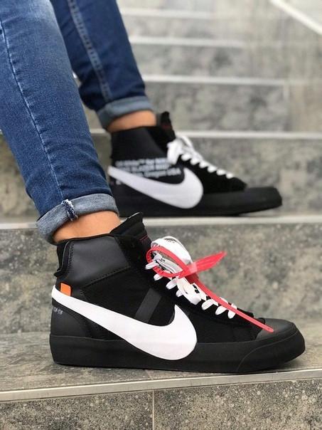 Мужские кеды Nike Blazer Mid x Off White. black. Замш. Кожа