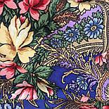 Июньское утро 1028-14, павлопосадский платок (шаль) из уплотненной шерсти с шелковой вязанной бахромой, фото 5