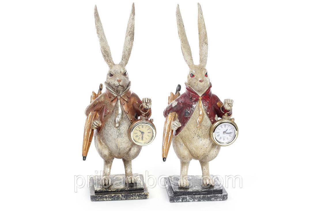 Декоративна фігура з годинником Білий Кролик 38.5 см, 2 види