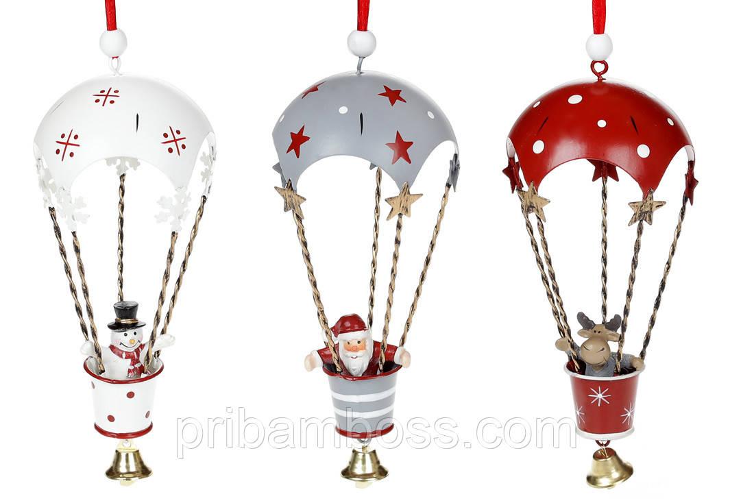 Подвесной декор Воздушный шар с фигуркой, 3шт, 18см, цвет - красный с белым