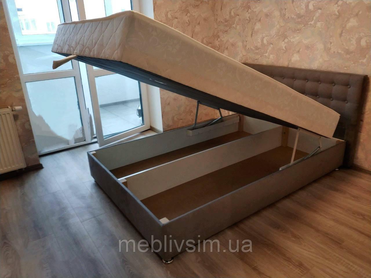 Кровать Альянс Камила 1,4 в обивке под замш мышиного цвета с матрасом и подъёмным механизмом с пуговицами