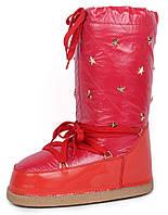 Дутики женские луноходы термо Moon Boots Red самая теплая обувь, Красный, 36