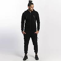 Теплый мужской спортивный костюм с большими карманами черный
