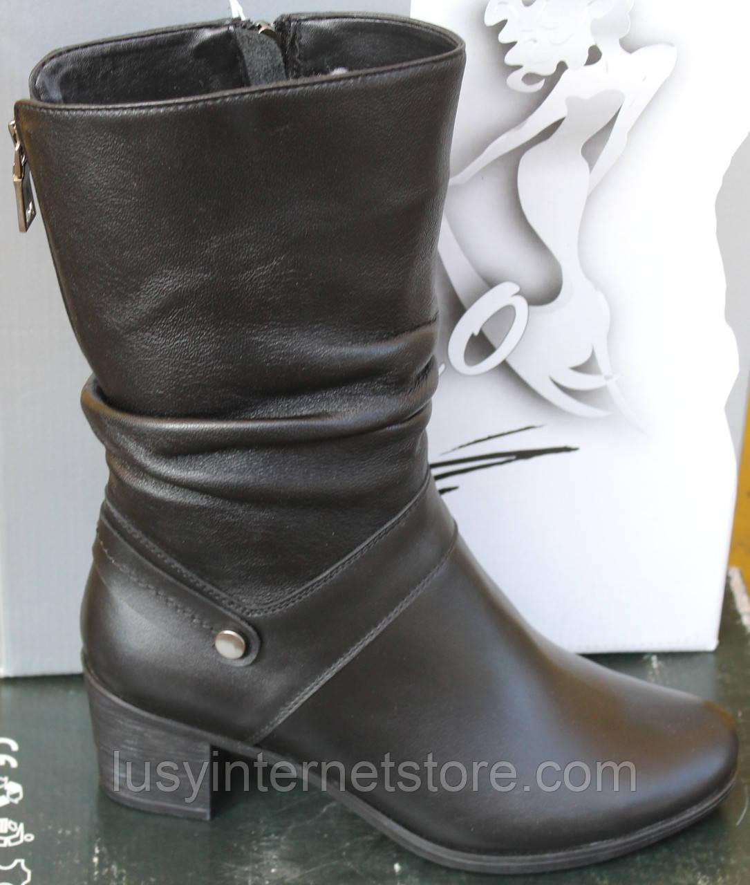 Сапоги женские кожаные зимние на каблуке от производителя модель САВ520