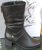 Сапоги женские кожаные зимние на каблуке от производителя модель САВ520, фото 1