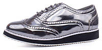 Туфли оксфорды женские Todzi металлик на шнуровке, Серебряный, 41