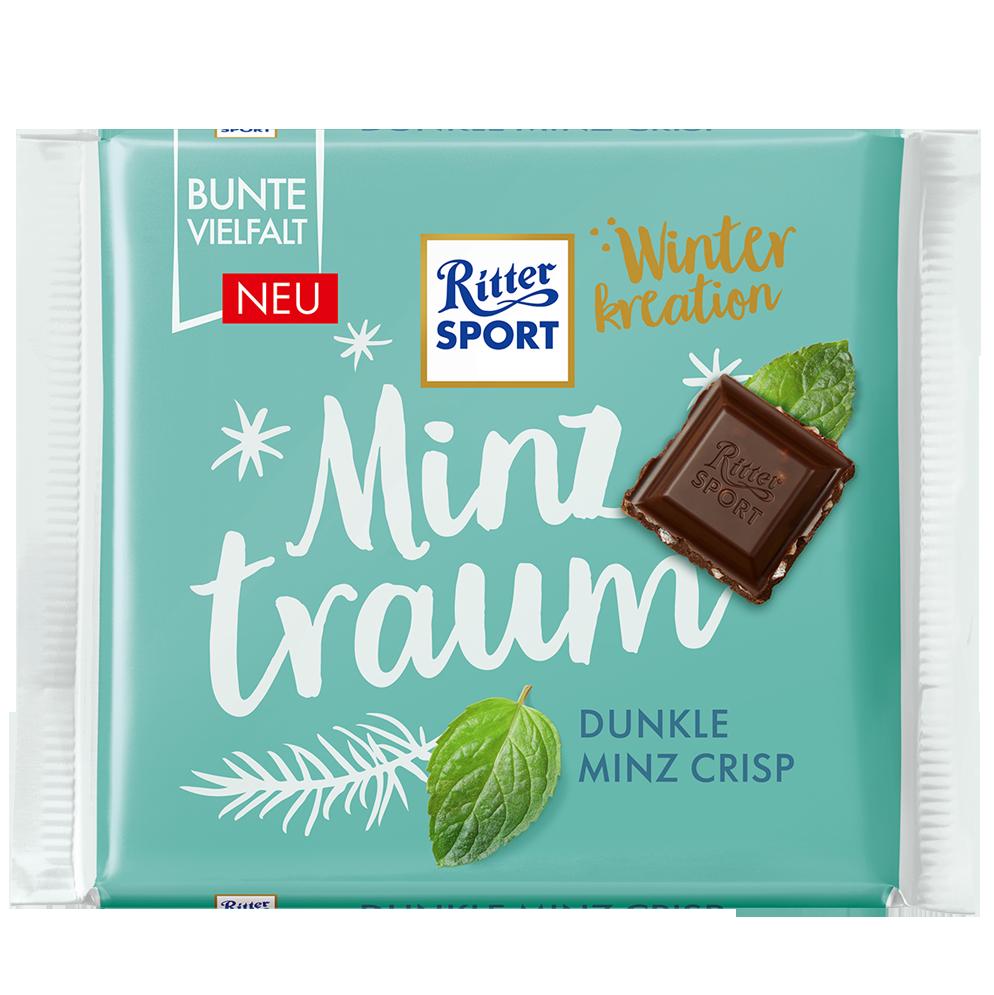 Шоколад Ritter Sport Dunkle Minz Crisp темний шоколад с мятною хрусткой 100г (1уп/12шт)