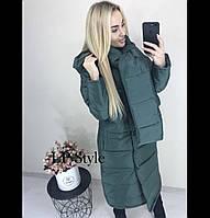 Длинное женское пальто из плащевки на синтипоне с капюшоном 42,44,46р.