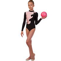 Купальник гимнастический для выступлений детский черный-розовый UR DR-1405-BKP, фото 3