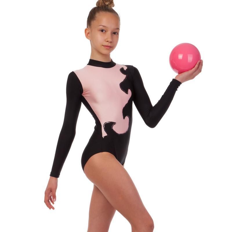 Купальник гимнастический для выступлений детский черный-розовый UR DR-1405-BKP