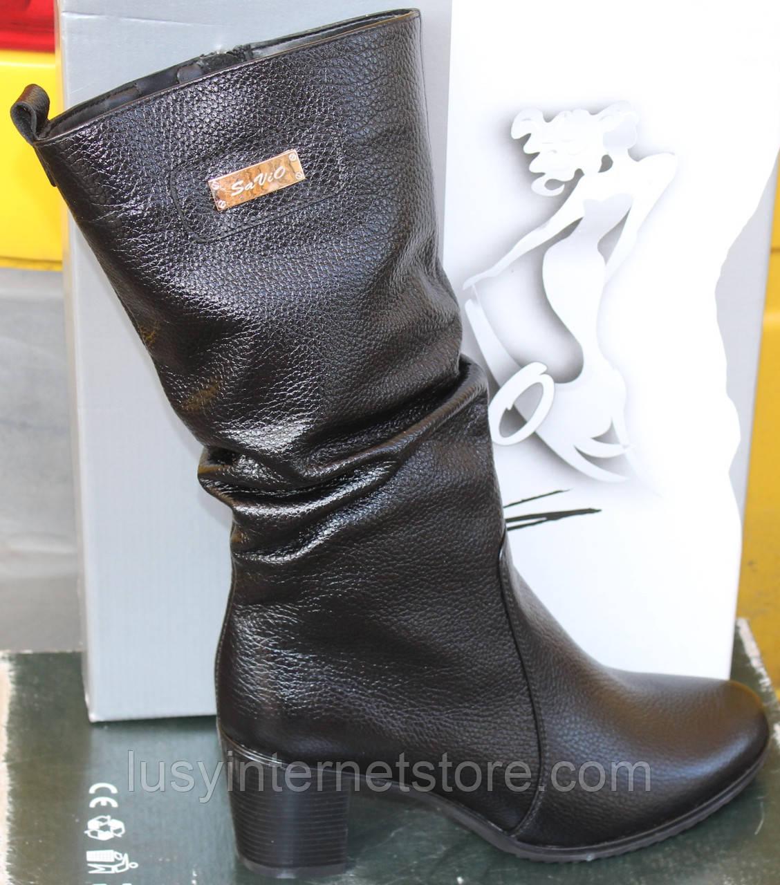 Сапоги женские кожаные зимние на каблуке от производителя модель САВ596